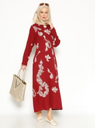 Gauze Dress - Maroon - Cikrikci