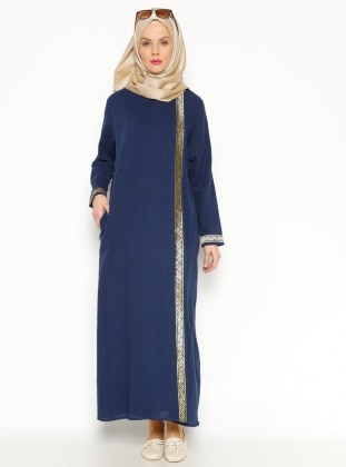 Gauze Abaya - Navy Blue - Gold - Cikrikci