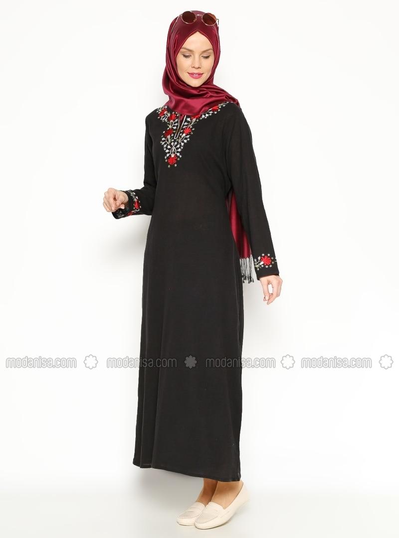 Embroidered Gauze Dress - Black - Cikrikci