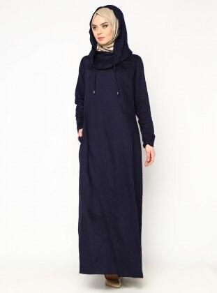 Kapüşonlu Elbise - İndigo