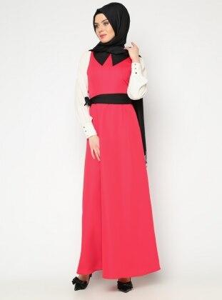 Kolsuz Jile Elbise - Kırmızı