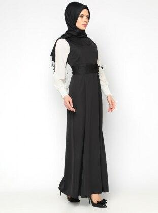 Kolsuz Jile Elbise - Siyah