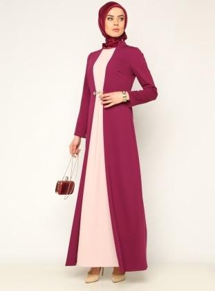 İki Renk Abiye Elbise - Erguvan