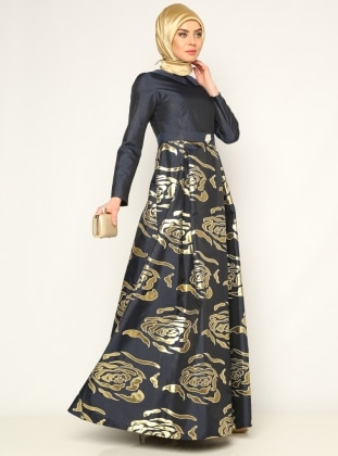 Jacquard Evening Dress - Navy Blue - Sevdem Abiye 180542