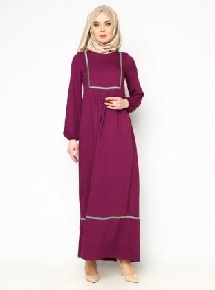 Nakışlı Piliseli Elbise - Mor - Cml Collection CML Collection