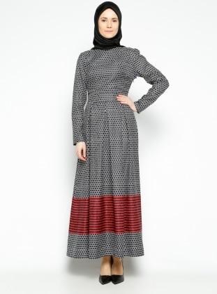 Pita Desenli Elbise - Siyah