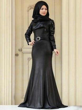 Elena Evening Dress - Black - Silver