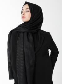 Cotton Silk Road Shawl - Black - Argite Esarp