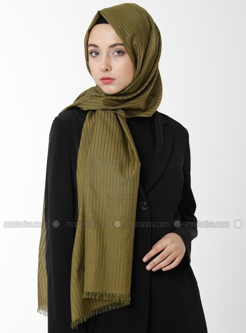 Cotton Silk Road Shawl - Khaki -  Esarp