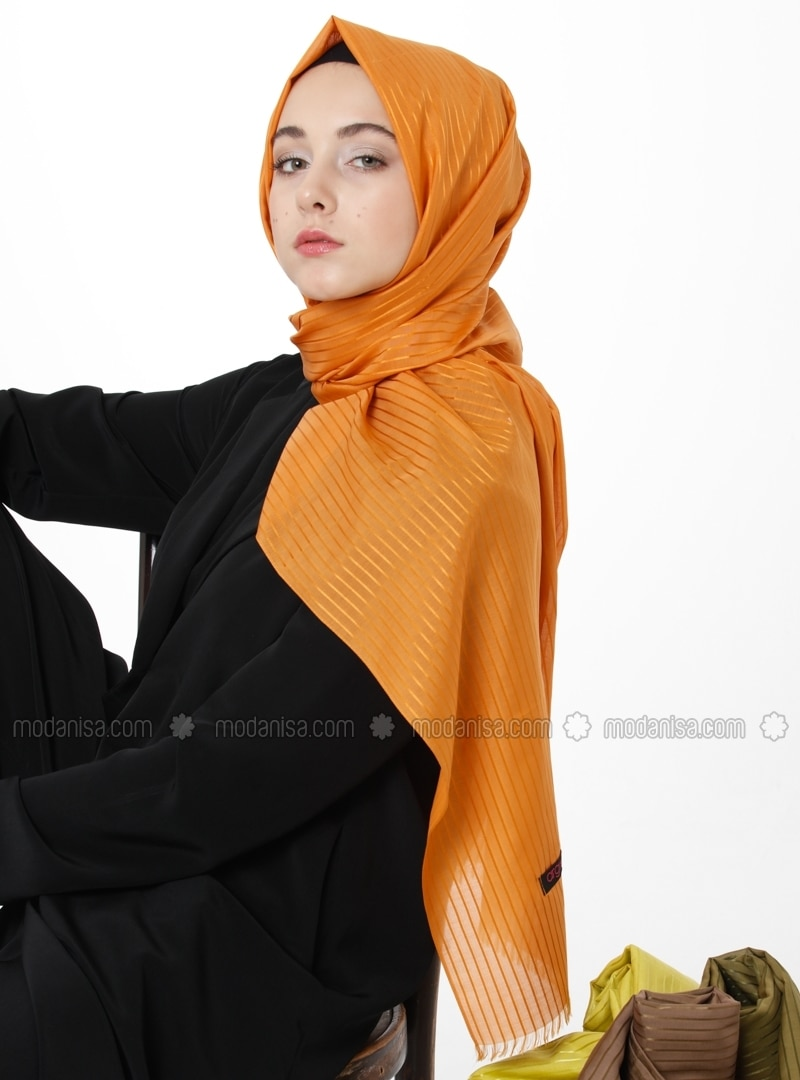Cotton Silk Road Shawl - Orange -  Esarp