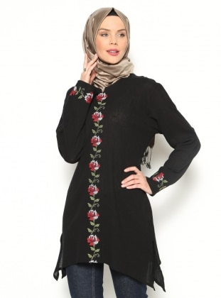 Embroidered Gauze Tunic - Black - Cikrikci
