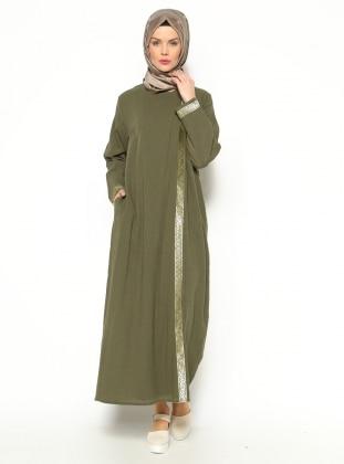 Gilded Gauze Abaya - Khaki Gold - Cikrikci