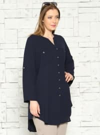 Buttoned Tunic - Navy Blue