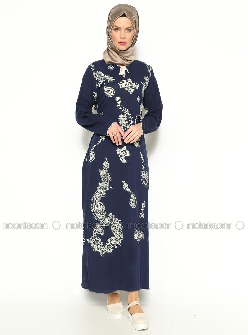 Printed Gauze Dress - Navy Blue - Cikrikci
