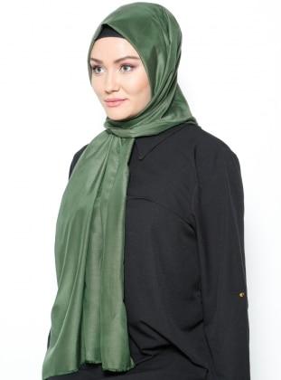 Plain Silk Cotton Stole Shawl - Khaki