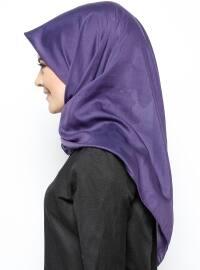 Silk Blend - Cotton - Purple - Plain - Scarf