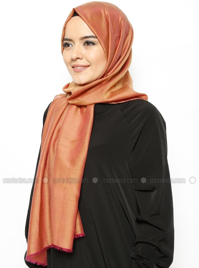 Silk Blend - Cotton - Tan - Plain - Shawl