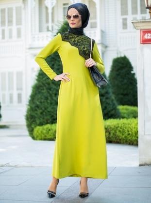 HANIMŞAH Dantel Detaylı Elbise - Yağ Yeşili - Hanımşah