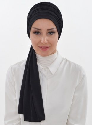 Cotton - Black - Plain - Instant Scarf