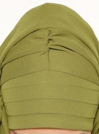 Pleated Semi Instant Shawl - Khaki - Tulipaturban