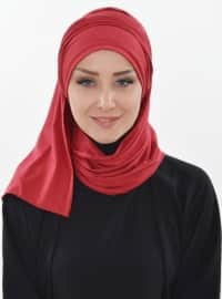 Cotton - Maroon - Plain - Instant Scarf