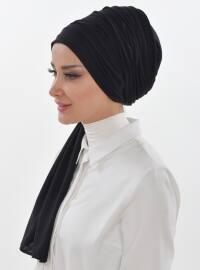 Cotton - Black - Plain - Instant Scarf