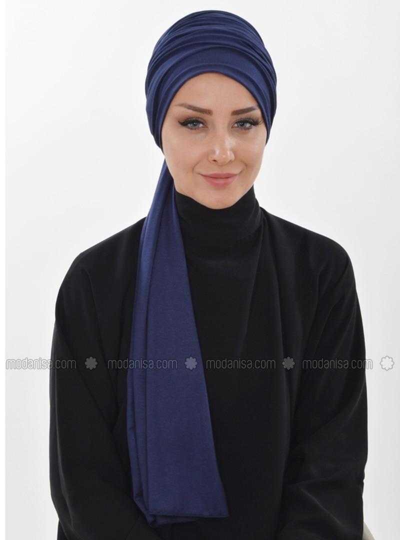 Cotton - Navy Blue - Plain - Instant Scarf