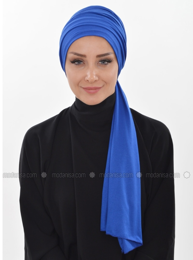 Cotton - Saxe - Plain - Instant Scarf