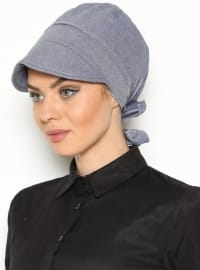 Blue - Cotton - Plain - Pinless - Denim - Instant Scarf