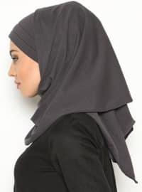 Gray - Combed Cotton - Plain - Pinless - Instant Scarf