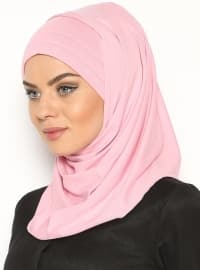 Pink - Combed Cotton - Plain - Pinless - Instant Scarf