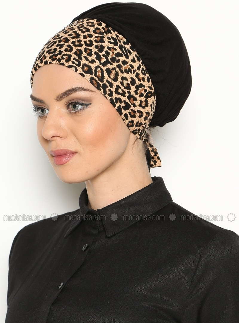 Leopard - Brown - Black - Pinless - Instant Scarf