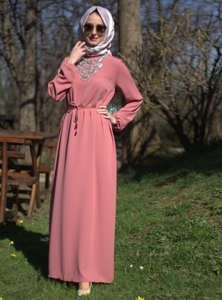 Belted Dress - Powder - Melek Aydin