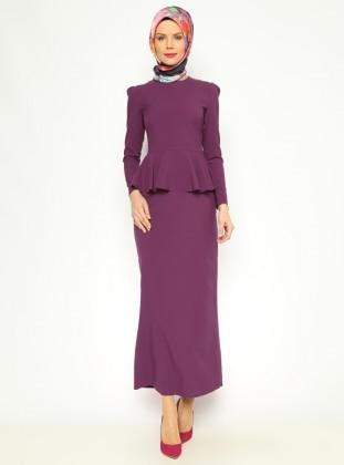 Peplum Detaylı Elbise - Mor Pita