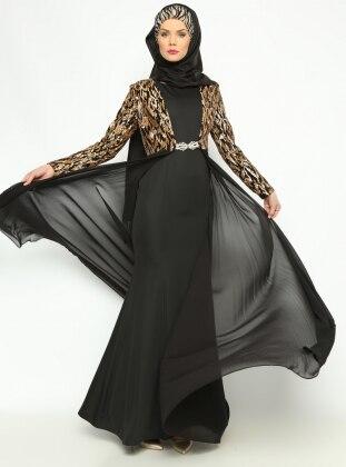 Ceket&Elbise Abiye Takım - Siyah Asbella