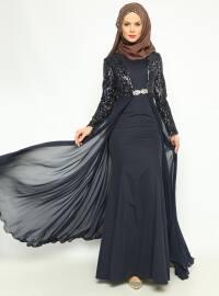 Ceket&Elbise Abiye Takım - Lacivert - Asbella Abiye