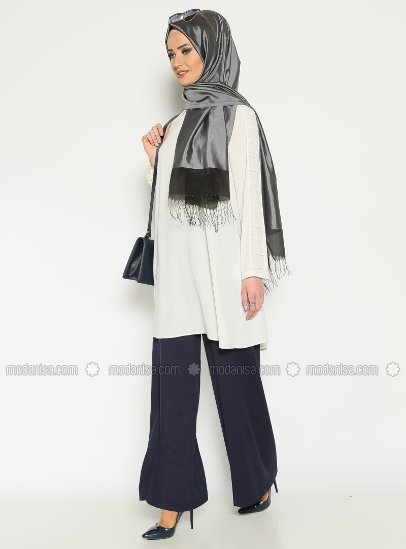 Wide Leg Pants - Navy Blue