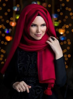 Queen Püsküllü Şal - Kırmızı