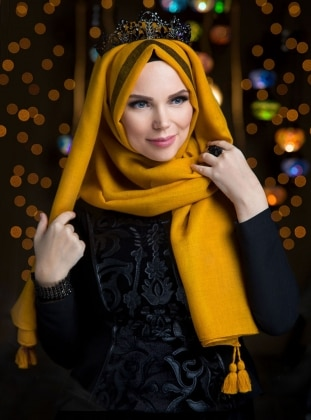 Yellow - Fringe - Shawl