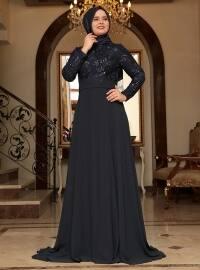 Saliha Yaprak Abiye Elbise - Lacivert - Saliha