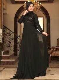 Saliha Yaprak Abiye Elbise - Siyah - Saliha