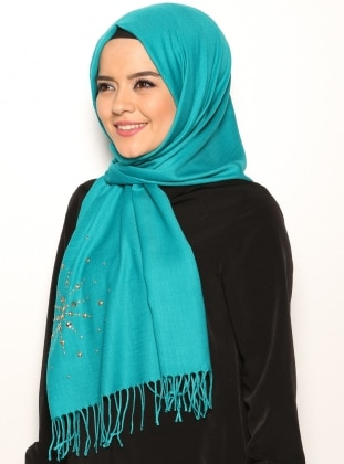 Embellished Shawl - Emerald Green