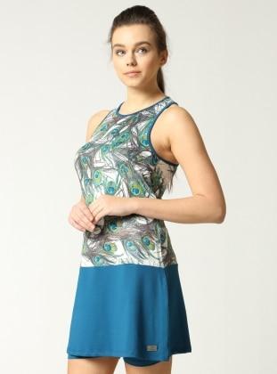 Tavus Kuşu Desenli Etekli Mayo - Petrol Mavi Mayovera