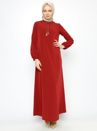 Tek Renk Elbise - Bordo