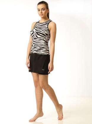 Zebra Desenli Etekli Mayo - Siyah Beyaz