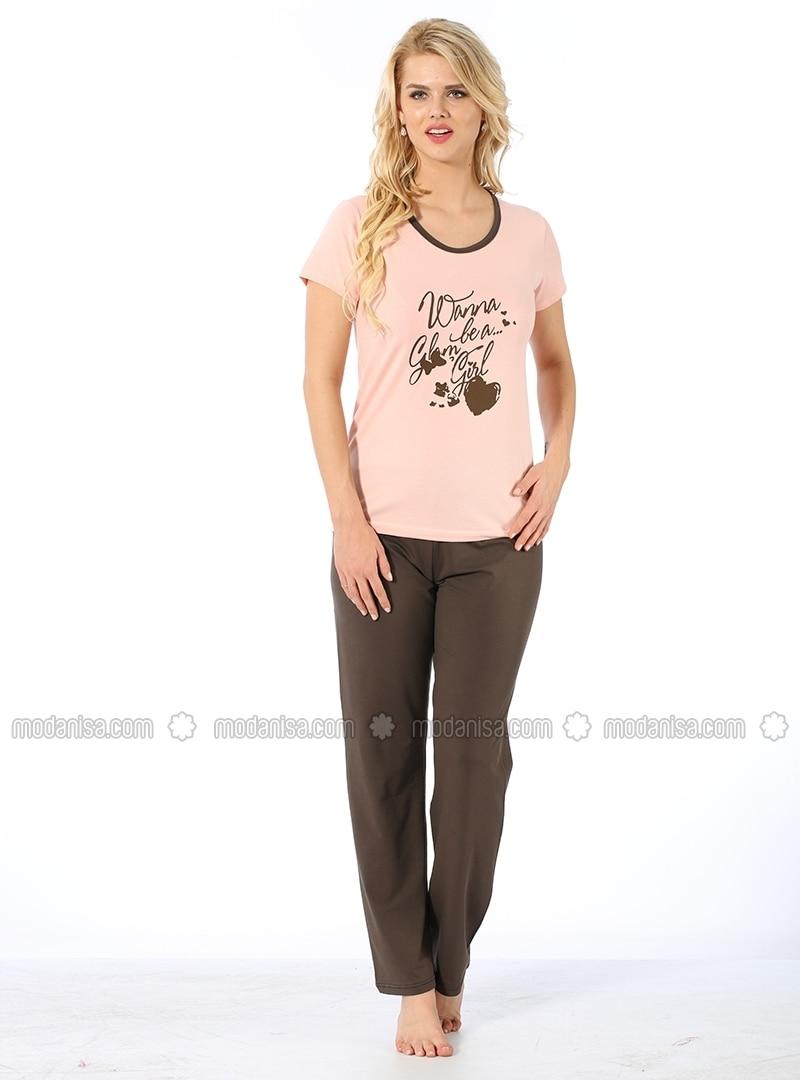 Pajamas - Powder & Brown - AKBENIZ