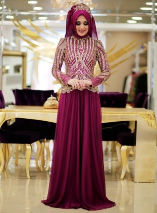 Beril Abiye Elbise - Fuşya