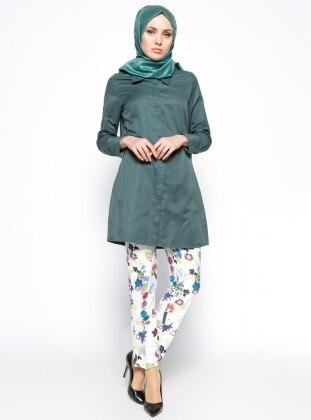 Çiçek Desenli Pantolon - Yeşil - Mor Missmira