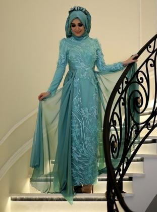 İpek Abiye Elbise - Mint