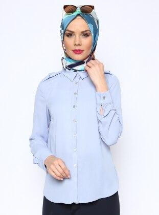 Sivri Yakalı Gömlek - Mavi Missmira